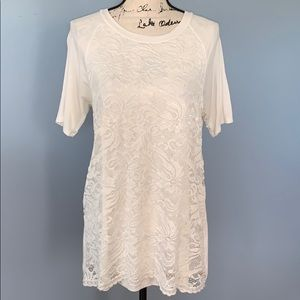 FIRST LOOK cream lace large shirt sleeve